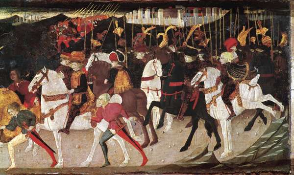 Decameron de Boccaccio (Jean Boccaccio): story of Alatiel, daughter of the sultan of Babylon Beminedab, detail representing horsemen and pages (Story of Alatiel daughter of Beminedab, the Sultan of Babylon, riders and pages) (7th news of the second day) Wood painting of the master of cassone jarves 15th century Musei Civici Veneziani - Museo Correr Venice
