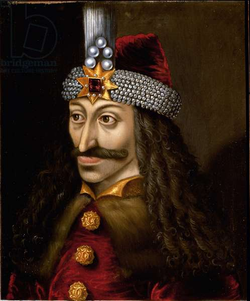 Portrait of Vlad Tepes III the impaler or Dracula (1431-1476) who inspired Bram Stoker the character of Dracula, novel written in 1897.Anonymous painting of the 16th century. Castle of Ambras Austria.