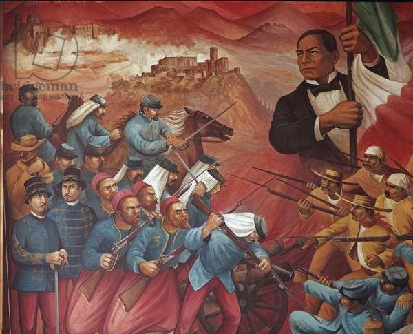 Portrait de Benito Pablo Juarez Garcia (1806-1872) symbole de la Republique contre l'intervention francaise, 1972 (fresque)