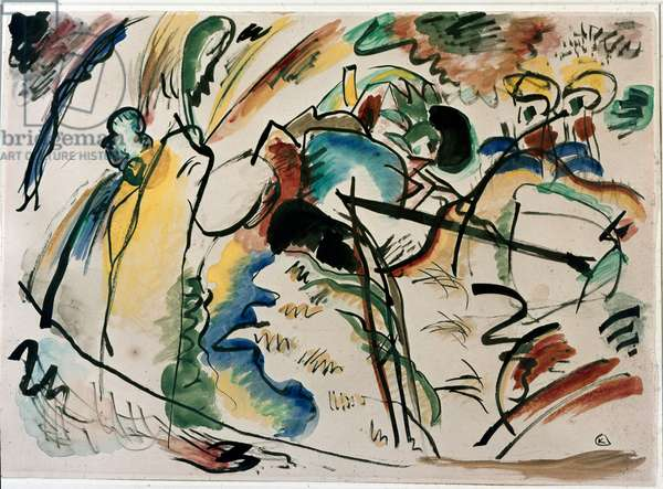 Expressionism: study for painting with white form. Painting by Vassily Kandinsky (or Wassily Kandinski or Kandinskij, 1866-1944). 1913 New York, Museum of Modern Art