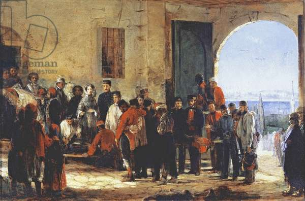 The Crimean War: the nurse Florence Nightingale at the Hospital of Scutari in Turkey, 1856 (oil on canvas)