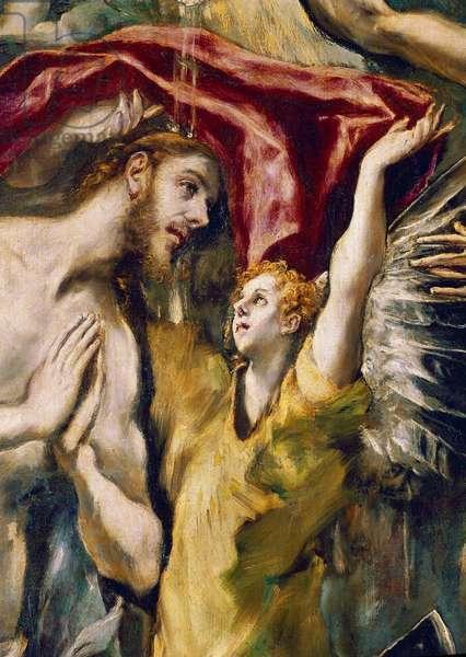 The baptism of Christ Painting by Domenikos Theotokopoulos dit El Greco (1541-1614), 1597. Detail. Madrid, Prado Museum.