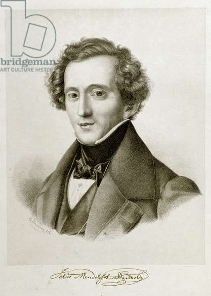 Portrait of Jakob Ludwig Felix Mendelssohn Bartholdy (1809-1847), German conductor and composer. Lithography of the 19th century Civico Museo Bibliografico Musicale, Bologna ©Luisa Ricciarini/Leemage