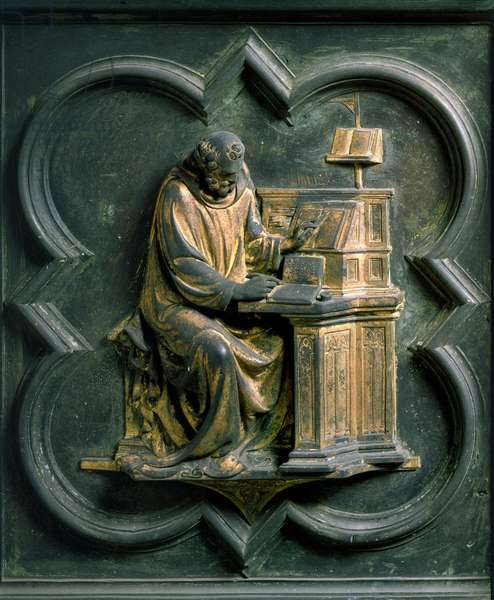 North Gate (called Gate of the Cross, to the North), exterior detail: Saint Jerome. Bronze sculpture made by Lorenzo Ghiberti (1378-1455), 1424. Baptistere San Giovanni, Florence