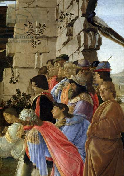 The Adoration of the Magi, detail (The adoration of the magi) - Self-portrait on the right - Painting by Alessandro di Mariano dei Filipepi dit Sandro Botticelli (1445-1510), 1475 Tempera on wood Dim 111x134 cm Musee des Uffizi (Uffizi), Florence