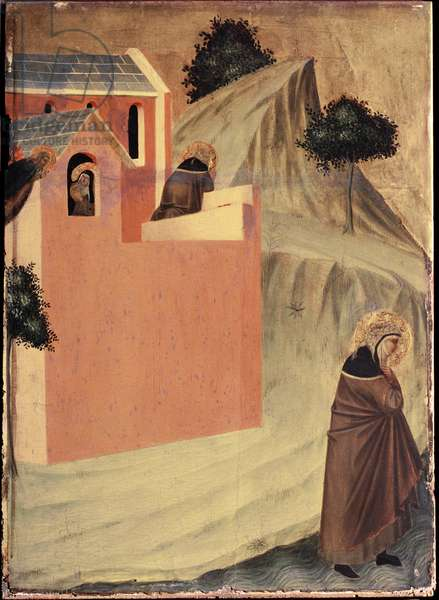 """Polyptych of the life of Beata Umilta (Polyptych of st Humility): """""""" Saint Umilta (circa 1226-1310) leaves the convent of Saint Perpetua and crosses the river Lamone"""""""" (The st leaves the convent of st Perpetua et crosses the river lamone) Detrempe on wood by Pietro Lorenzetti (1280-1348) 14th century Florence, Uffizi gallery"""