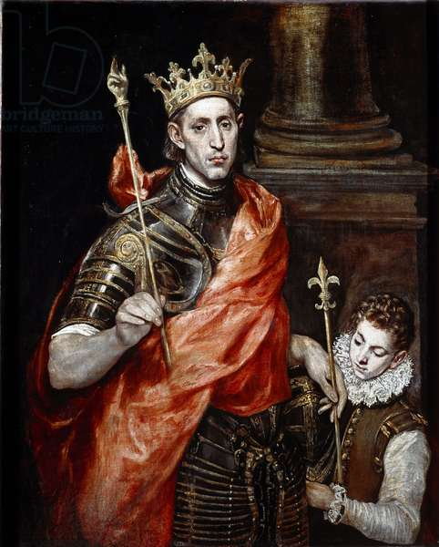 Saint Louis, King of France and a page  (Painting, 16th-17th century)