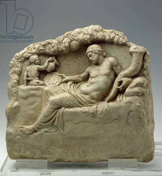Relief with Dionysus and satyr ,