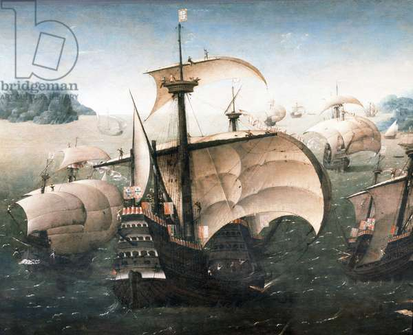 "Portuguese squadron off a rocky coast - Supposes representing the caravel ""Santa Catarina de Monte Sinai"", bearing the pavilion of King Manuel I of Portugal (1469-1521), which brings the infante Beatrice of Portugal (1504-1538) to Villefranche, for his marriage in 1521, to Charles III, Duke of Savoy (known as the Good) (time 1486-1553), to or ship Meeting Italian boats during the journey from Lisbon (Portugal) - Oil on wood, first half of the 16th century, entourage of Joachim Patinir (or Skate) (1485-1524) Dim: 78,7x144,7 cm - Detail - Greenwich, National Maritime Museum"