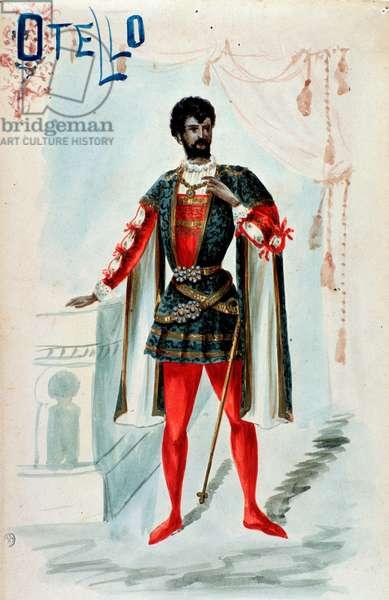 "Costume for the character of Otello in the opera """" Othello"""" by Italian romantic composer Giuseppe Verdi (1813-1901) - Costume for Otello in """" Otello"""" opera by Giuseppe Verdi, 1887 Private collection"