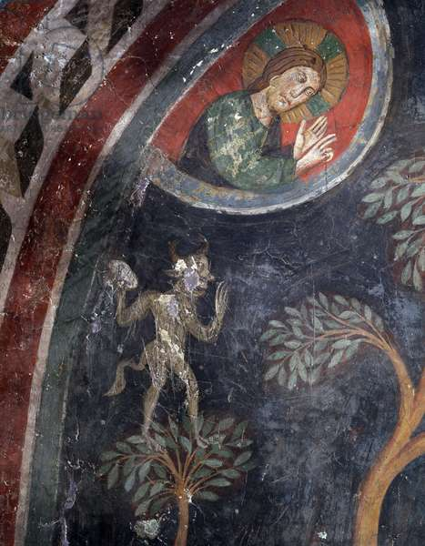 Figure of Christ and Demon Fresco of the 14th century (Christ and devil, frescoe, 14th century) Sanctuary of the Sacro Speco, Subiaco, Italy