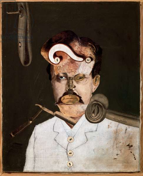 Remember Uncle Augustus, the unfortunate inventor (Remember). Portrait of a man with a question mark on his forehead, a fire spear on his shoulder, a razor in his neck and a door handle at the bottom of the picture. Painting by George Grosz (1893-1959), 1919. Collage. Musee National d'Art Moderne, Centre Georges Pompidou