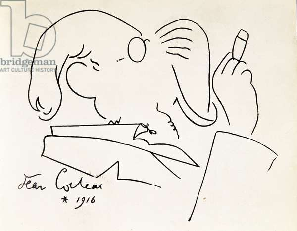 Cartoon portrait of composer Erik Satie (1866-1925) smoking cigar. Drawing by Jean Cocteau (1889-1963) 1916. Private Collection