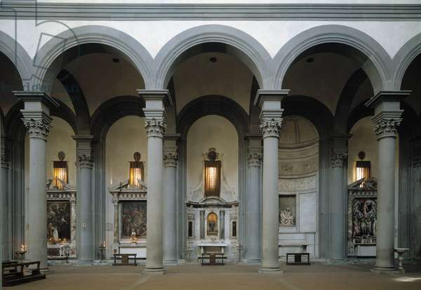 Interior view of the Church of Santo Spirito, nave on the right, projected by Brunelleschi in 1444 (Interior of St Mary of the Holy Spirit Church, right nave) Florence, Italy
