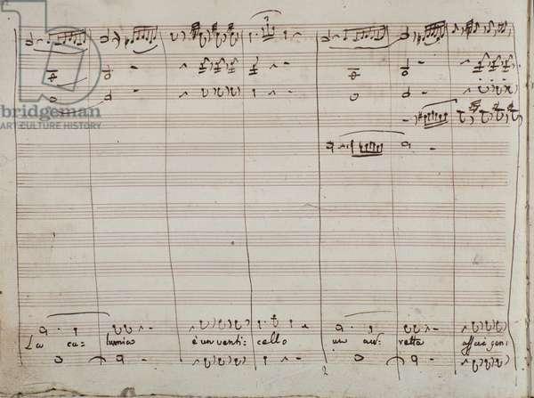 Musical Score for the 'La calunnia e un venticello' aria, in the 'The Barber of Seville' (ink on paper)