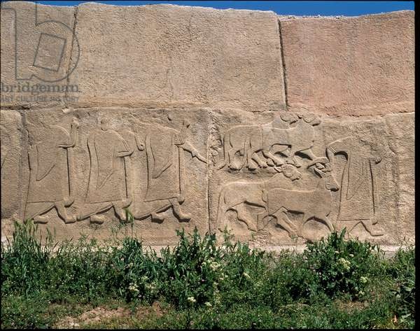 View of the base of reliefs of the Gate of the Sphinx, 14th century BC