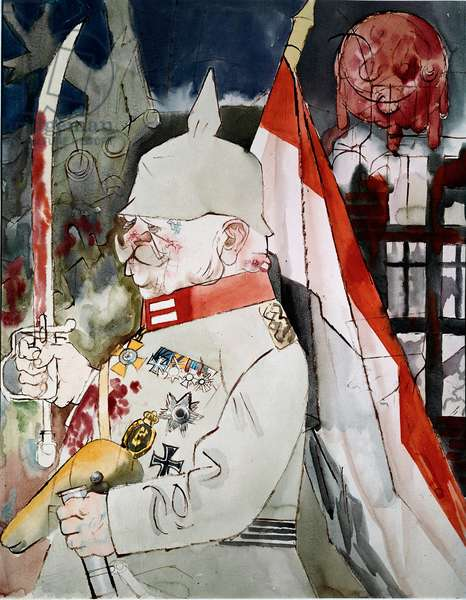 General A German officer with a helmet pointed, holding in one hand a velo saddle and in the other a blood-maculee sword. Behind him, ruins. Drawing by Georg Gross dit George Grosz (1893-1959) 1919. German Expressionism. Paris, private collection