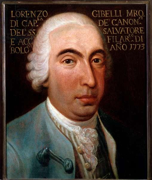 Portrait of Lorenzo Gibelli (1719-1812) italian composer, castrato (castrat) Anonymous painting. 1773. Bologna, civico museo bibliografico musicale.