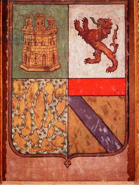 Coat of arms of the kingdom of Castile explorer Christopher Columbus. Palos, Rabida Monastery