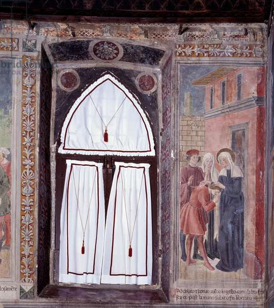 "Life of St. Francesca Romana (Santa Francesca romana) (1384-1440) (Histories of St Francesca Romana): """" A hunchback is healed by the saint"""" (An hunchback is healed by the saint) Fresco by Antoniazzo Romano (15th century) 1468 Rome, convent of the community of Oblate di Tor de 'Italy"