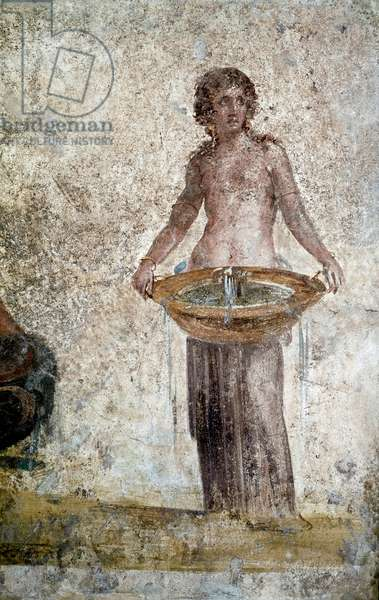 Roman art: representation of a nymph. Detail of a fresco from the house of the Vestales in Pompei. 1st century AD. Paris, Louvre Museum
