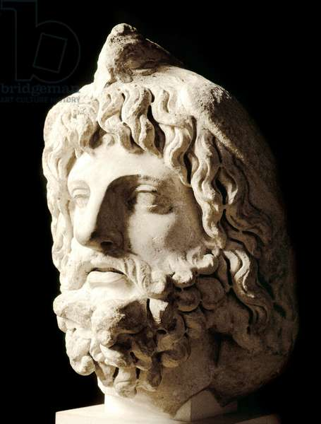 """Roman art: """""""" bearded head covered by a dead bird of Sarapis or Serapis, Greek-Egyptian god of Death"""""""""""" Marble sculpture from Carthage. 2nd century. Dim. 60 cm Paris, Musee du Louvre"""