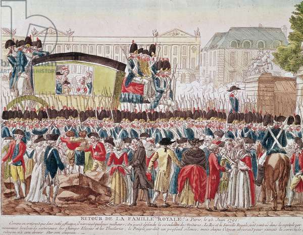"French Revolution: """" Return of the French Royal Family to Paris, 25 June 1791, the group crosses the Place de la Concorde (Return of the French Royal Family to Paris, 25 June 1791, the group crosses the Place de la Concorde)"