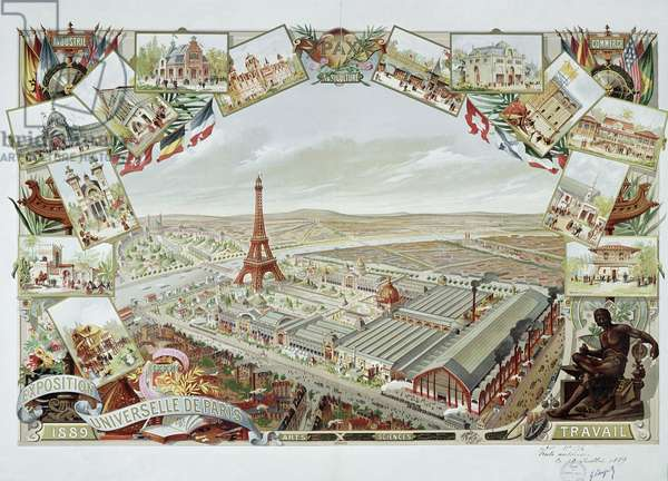 Vue sur Paris et la Tour eiffel pendant l'Exposition universelle, 1889 - Lithographie, detail 19eme siecle - Paris musee carnavalet --- View of the Universal Exhibition with the different pavilions and the Eiffel Tower, 1889 - Colour lithograph, 19th century, detail - Carnavalet Museum, Paris (France)