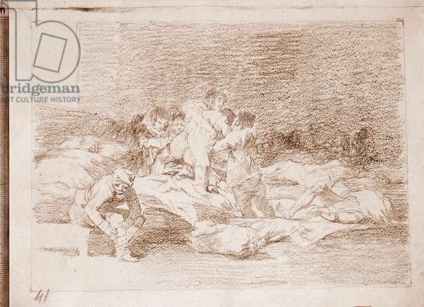 "Desastres de la guerre: """" And they too"""" (Tambien estos) - Field Hospital, convalescents, wounded and dying - Preparation drawing in red pencil n°25 by Francisco de Goya y Lucientes (1746-1828) 1810-1820 Madrid Musee du Prado"