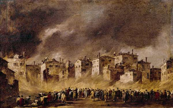 Fire in the Oil Depot in San Marcuola, 1790 (oil on canvas)