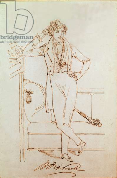 Portrait of Benjamin Disraeli, British politician and founder of the Conservative Party, 1833 (drawing)