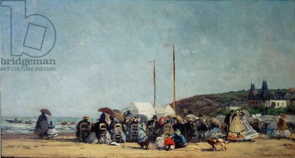 "La plage de Trouville, 1864, Painting by Eugene Louis Boudin (1824-1898), Sun: 0,26 x 0,48 m, Paris, Musee d'Orsay - """" The Beach at Trouville"""", 1864, Oil on canvas by Eugene Louis Boudin (1824-1898), Sun: 0,26 x 0,48 m, Paris, Musee d'Orsay"
