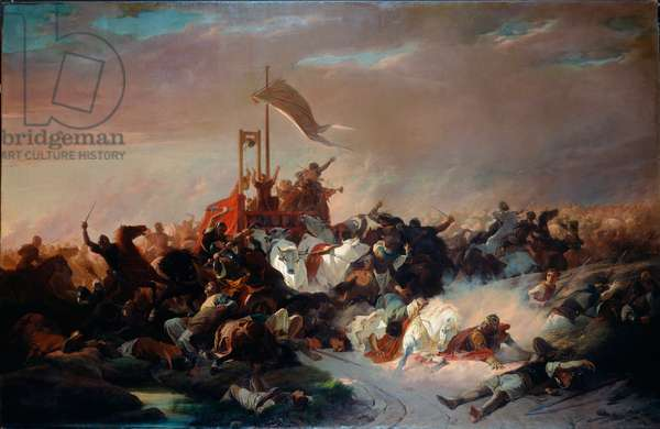 The Battle of Legnano on May 29, 1176 Emperor Frederic I Barberose was defeated by the militia of the League of Lombard Cities. Painting by Enrico Pollastrini (1817-1876) 1862 approx. Sun. 192x295 cm Genes, Galleria d'Arte Moderna, inv. 5