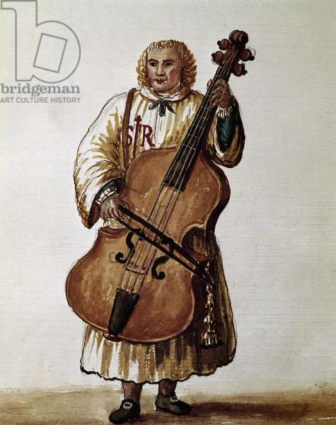 """Street musician (Wandering musician) Watercolour drawing and ink from the manuscript """"Customs of the Venitians"""""""" by Jan van Grevenbroeck (or Giovanni Grevembroch (Grevenbroch) (1731-1807), 18th century Venice. Correr Museum"""