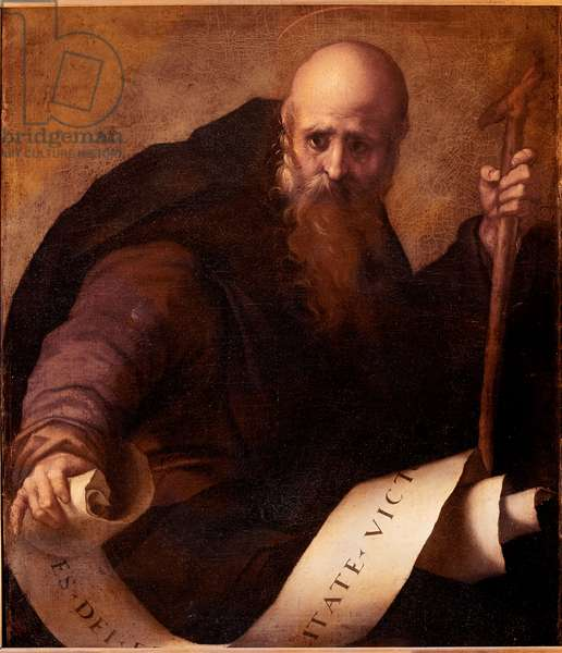 Saint Anthony, Abbe Representation of Saint Anthony the Great (250/251-356) (or Saint Anthony the Hermit or Saint Anthony the Abbe). Painting by Jacopo (Iacopo) Carrucci dit il Pontormo (Pontormo) (1494-1556) 1519 approx. Sun. 78x66 cm Florence, Galleria degli Uffizi (Offices)