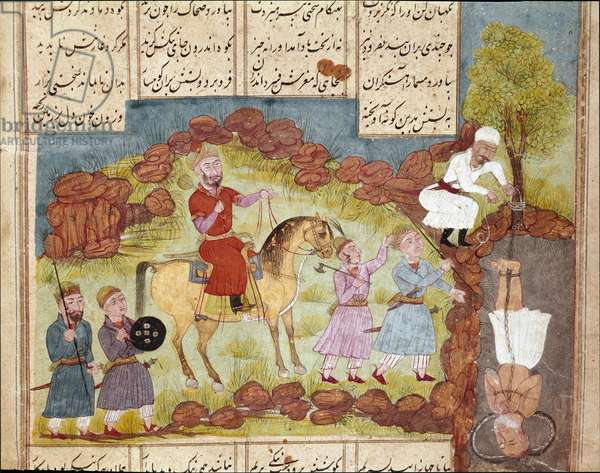 Scene of torture of an enemy, burned alive at the foot of a tree. (miniature)