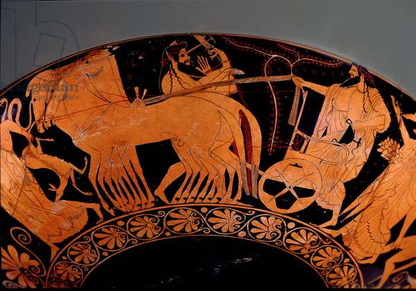 Kylix decorated with a Dionysian procession scene, 525-500 BC (terracotta)