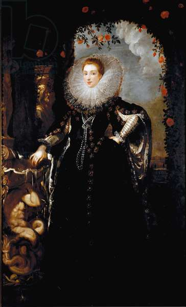 Portrait of Giovanna Spinola Pavese She is dressed in a richly decoree dress and a strawberry - Painting by Pieter Paul Rubens (1577-1640) 1604-1608 Dim 247x147 cm Bucharest, Muzeul National de Arta al Romaniei