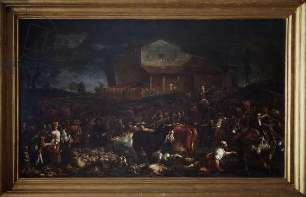 The fair in Poggio a Caiano in Tuscany, Italy (The fair in Poggio a Caiano) Painting by Giuseppe Maria Crespi dit lo Spagnolo (The Spanish) (1665-1747) 1709 Dim 118x194 cm Florence, Galleria degli Uffizi (Offices)