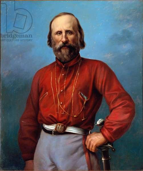 Portrait of Giuseppe Garibaldi (1807-1882) anonymous painting 19th century. Brescia, private collection