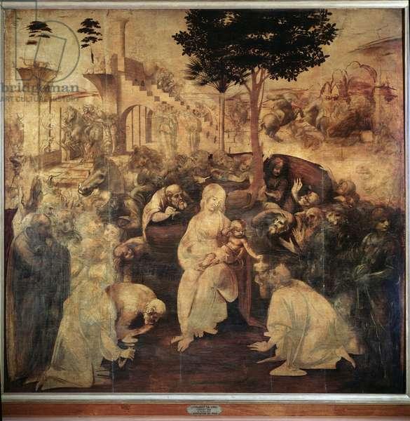 Adoration of the Magi Painting by Leonardo da Vinci (Leonardo da Vinci) (1452-1519) 1481-1482 Dim 246x243 cm Florence, galleria degli Uffizi (Offices)