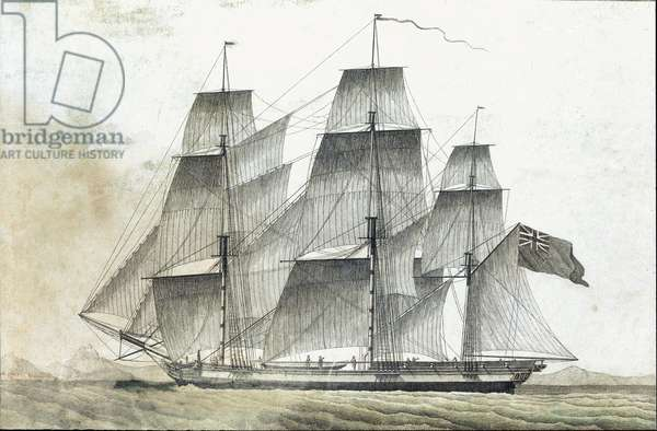 British merchant ship (British merchant ship) 18th century print Private collection