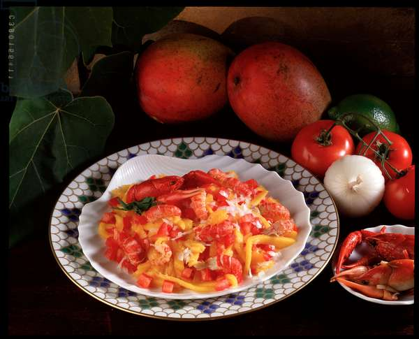 Food still life: crayfish and mango salad