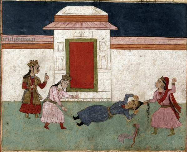 Two concubines fighting in a harem, the favorite grabs her rival's hair. (miniature)