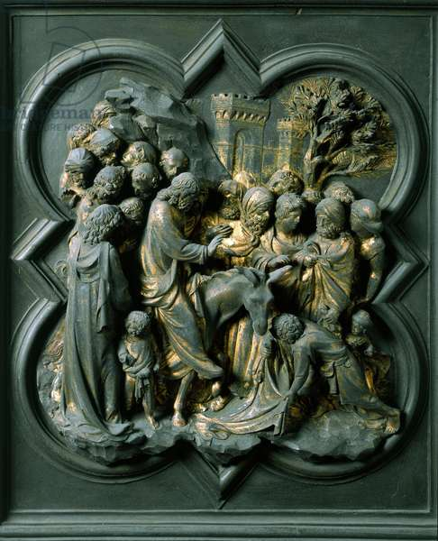"""North Gate (called the Gate of the Cross, in the North), exterior detail: """""""" the entrance to Jerusalem"""""""" Bronze sculpture made by Lorenzo Ghiberti (1378-1455), 1424. Baptistere San Giovanni, Florence"""