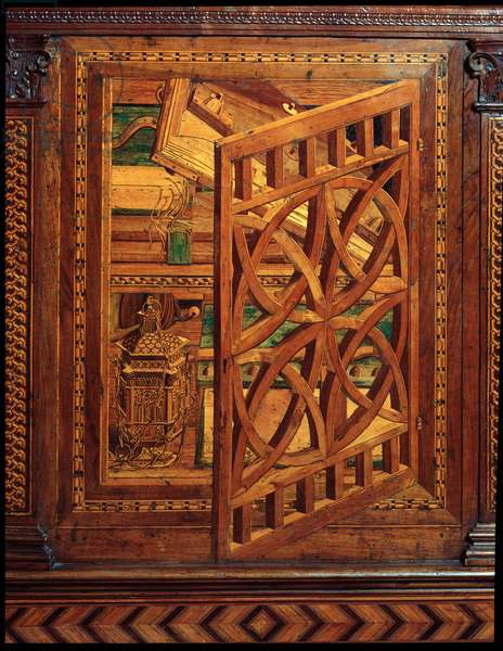Inlaid wooden lectern decorated with a trompe l'oeil window, 1498 Florence, Museo Nazionale del Bargello