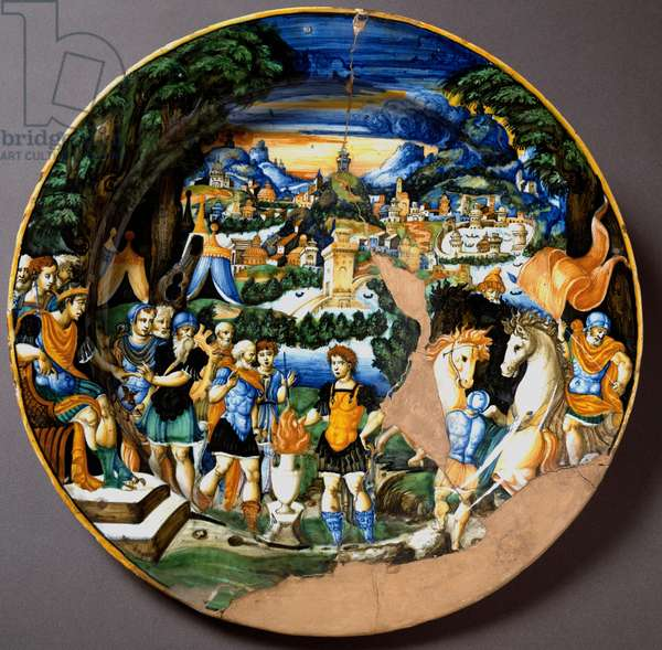 The heros Caius Mucius Scaevola facing Porsenna, Etruscan king. Ceramic plate produced in Urbino in the workshop Fontana, Italy. 1560 around Florence, Museo Nazionale del Bargello