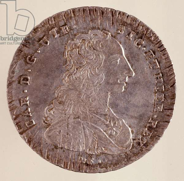 Silver piastra from Naples: reign of Carlo III of Spain (Charles III) (1716-1788) and portrait. 1750. Diam. 4 cm Naples, museo archeologico