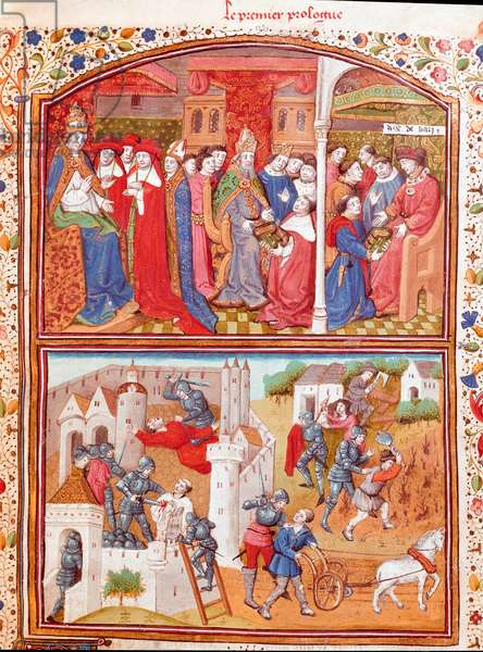 """Prologue: the author presents his book to the Duke of Berry and scene of massacre of plowers Miniature taken from """""""" Cases of noble men and women unfortunes"""""""" (De casibus) by Giovanni Boccaccio dit Jean Boccace (1313-1375), Italian writer, translated by Laurent de Premierfait and enlumined by the master of Dunois (15th century) 1465 Chantilly, Conde Museum"""