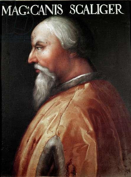 Portrait of the Lord of Verona Can Francesco della Scala dit Cangrande I (1291-1329) Anonymous painting. Galleria degli Uffizi (Offices), Raccolta Gioviana